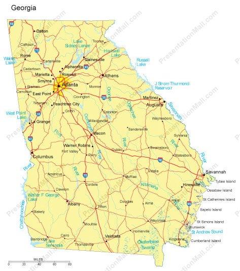 Georgia PowerPoint Map Counties Major Cities and Major Highways