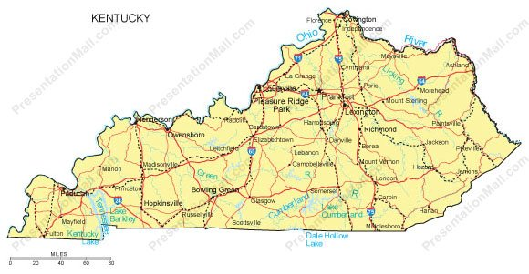 Kentucky PowerPoint Map  Counties Major Cities And Major