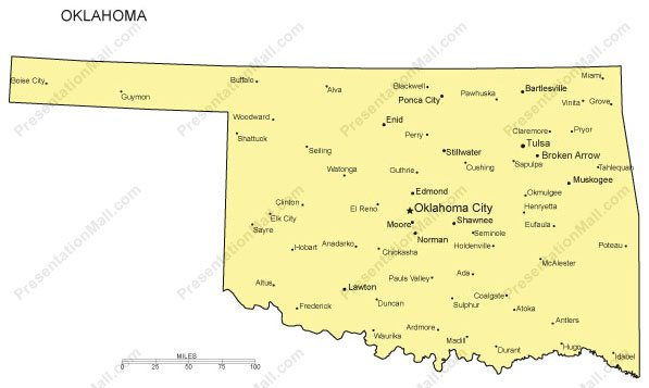 Oklahoma Outline Map With Capitals Amp Major Cities Digital