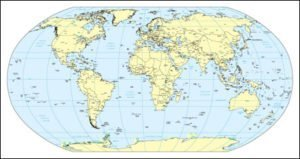 World Map with Gobal References - Single Color
