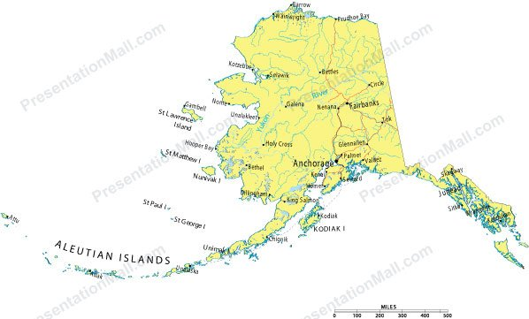 alaska powerpoint map counties major cities and major highways