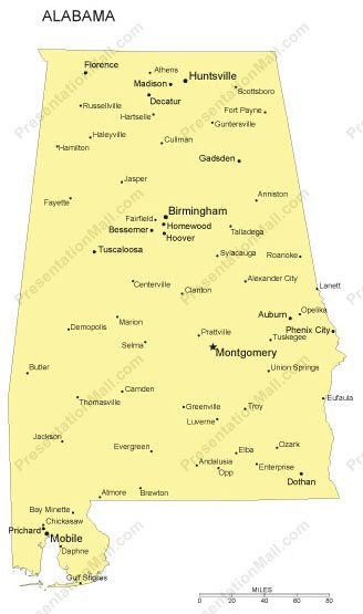 alabama outline map with capitals  u0026 major cities