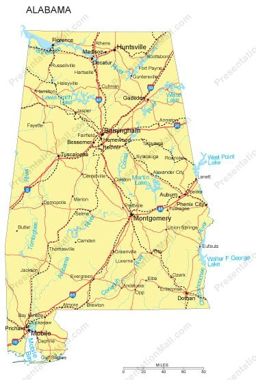 Alabama PowerPoint Map - Counties, Major Cities and Major Highways
