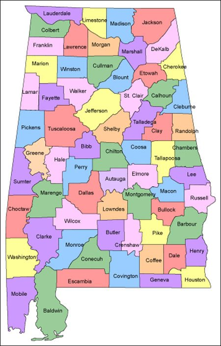 Alabama Map for Websites - Clickable HTML Image Map on
