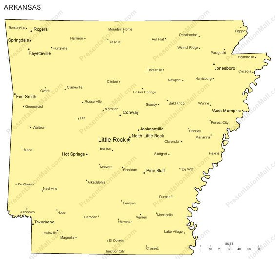 Arkansas PowerPoint Map Major Cities - State map of arkansas with cities