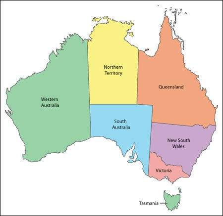 Australia Map   Editable Vector Illustrator, WMF and PDF