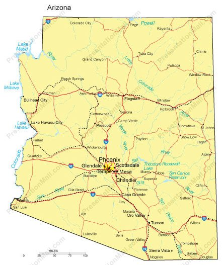 Arizona PowerPoint Map Major Cities Roads Railroads Waterways - Arizona map with cities