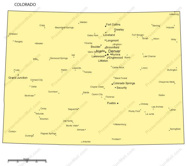 Colorado Outline Map With Capitals Major Cities Digital Vector - State map of colorado with cities