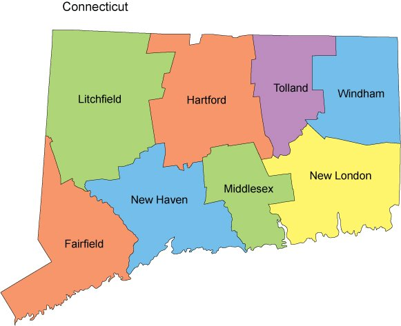 Connecticut Map With Counties - Connecticut on us map