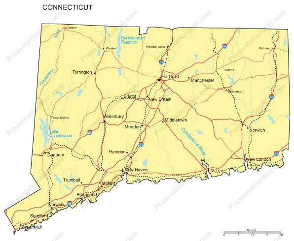 Connecticut PowerPoint Map Counties Major Cities And Major Highways - Map of connecticut cities