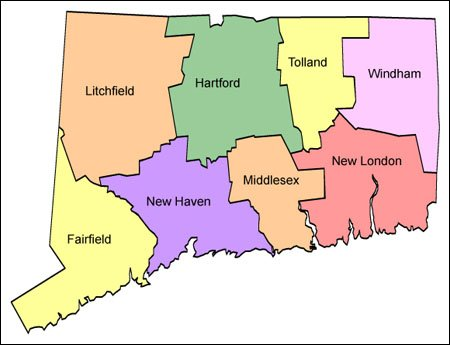Connecticut Map for Websites Clickable HTML Image Map