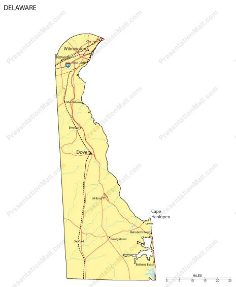 Delaware Cities Map on