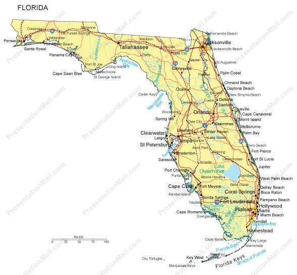 Florida PowerPoint Map Counties Major Cities And Major Highways - Florida coastal cities map