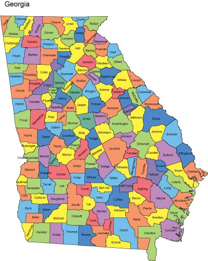 Map Of The State Of Georgia.Georgia Map With Counties