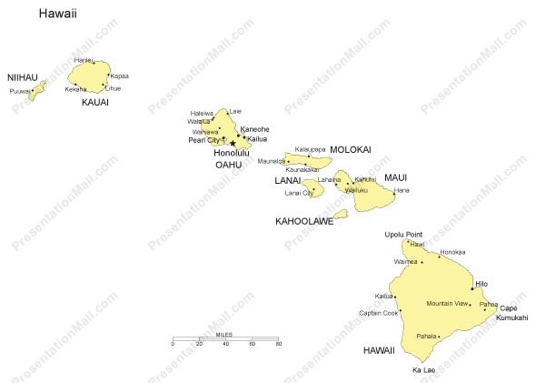 Hawaii Outline Map with Capitals Major Cities Digital Vector