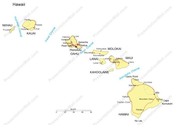 Hawaii PowerPoint Map Major Cities Roads Railroads Waterways - Hawaii cities map