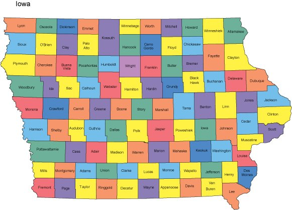Iowa PowerPoint Map Counties
