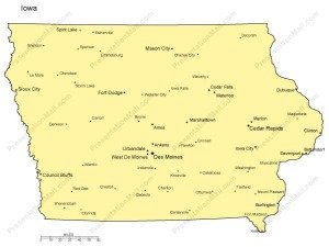 Iowa PowerPoint Map Major Cities - Cities in iowa map