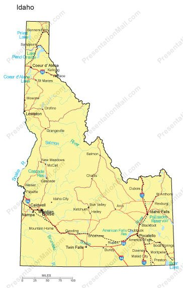 Idaho Map Major Cities Roads Railroads Waterways Digital