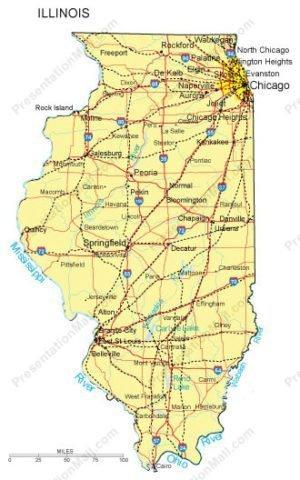 Illinois PowerPoint Map Major Cities Roads Railroads Waterways - Illinois map with cities