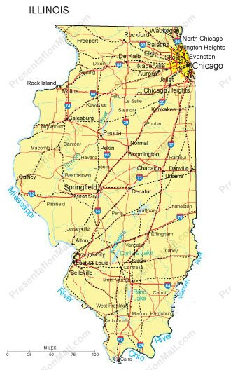 Illinois Powerpoint Map Counties Major Cities And Major Highways