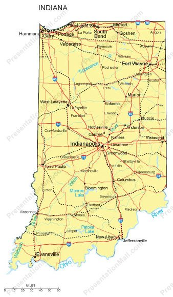 Indiana PowerPoint Map Counties Major Cities And Major Highways - Map of indiana cities