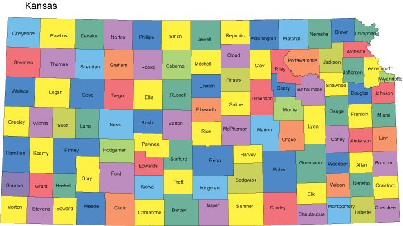 Map - Kansas map with counties