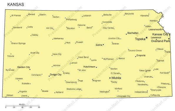 Kansas Outline Map With Capitals Major Cities Digital Vector