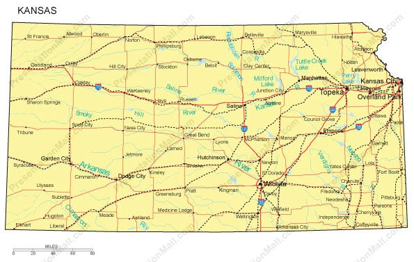 Kansas Map - Ks map with counties and cities