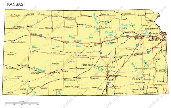 Kansas Map Counties Major Cities And Major Highways Digital - Map of kansas cities