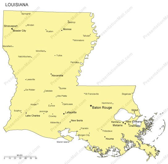 Louisiana Outline Map with Capitals Major Cities Digital Vector