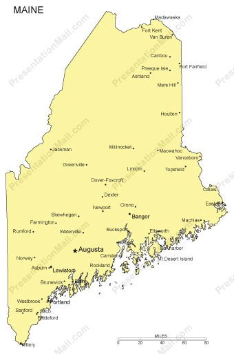 Maine PowerPoint Map Major Cities - Maine cities map