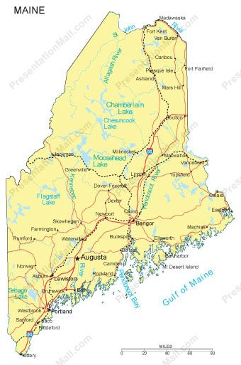 Maine PowerPoint Map Counties Major Cities And Major Highways - Map of maine rivers