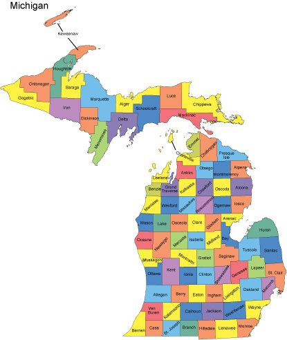 Editable Map Catalog PresentationMall - Michigan map of counties
