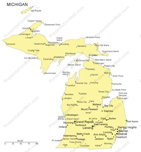 Michigan PowerPoint Map   Major Cities