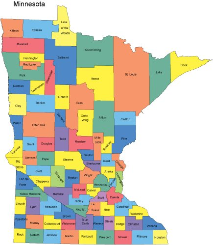 Minnesota Map with Counties