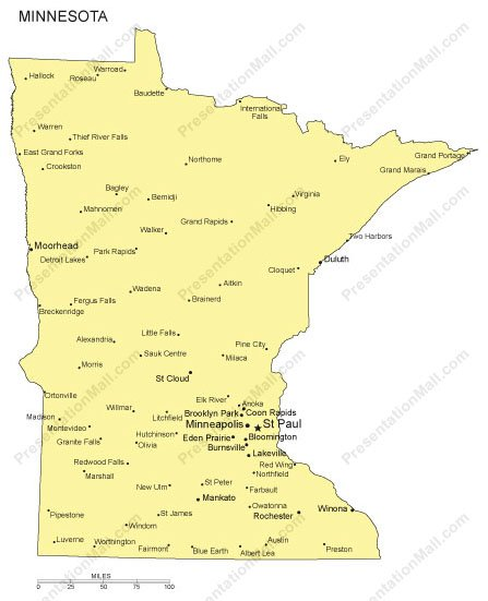 Minnesota Outline Map With Capitals Major Cities Digital Vector