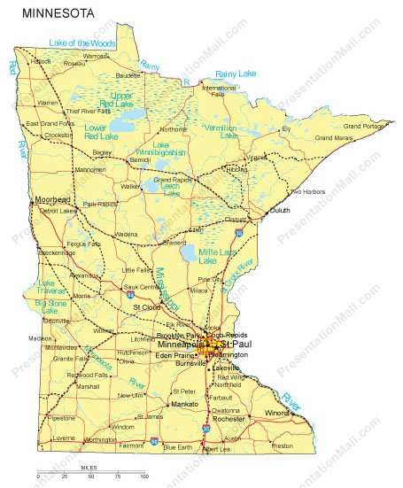 Minnesota Map Major Cities Roads Railroads Waterways Digital