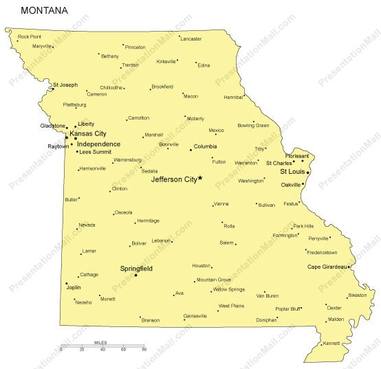 Missouri Outline Map With Capitals Major Cities Digital Vector