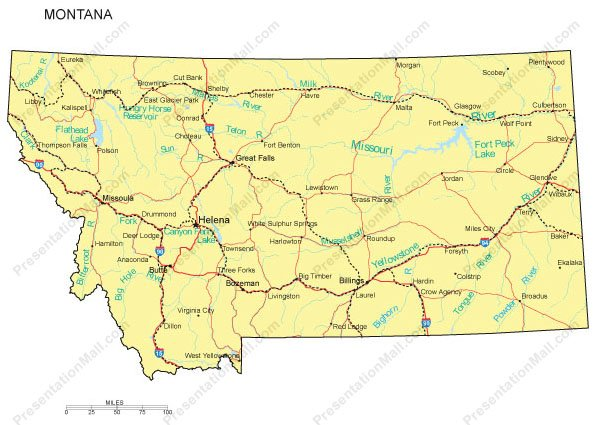 Montana Map - Counties, Major Cities and Major Highways - Digital ...