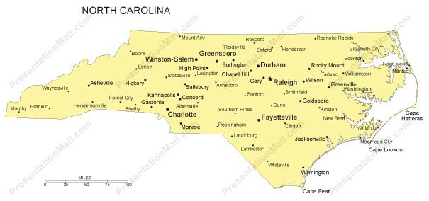 Map Of Major Cities In North Carolina Georgia Map - Map of nc cities