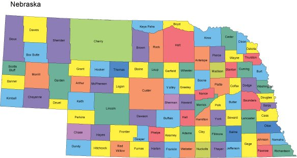 Nebraska Map With Counties - Nebraska map us