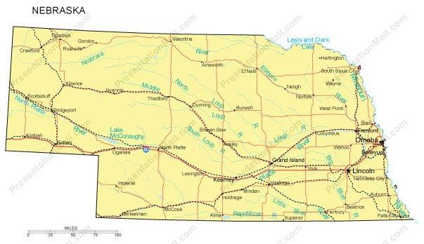 Nebraska PowerPoint Map Major Cities Roads Railroads Waterways - Ne maps