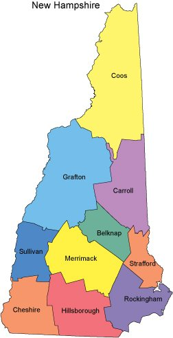 New Hampshire Map With Counties