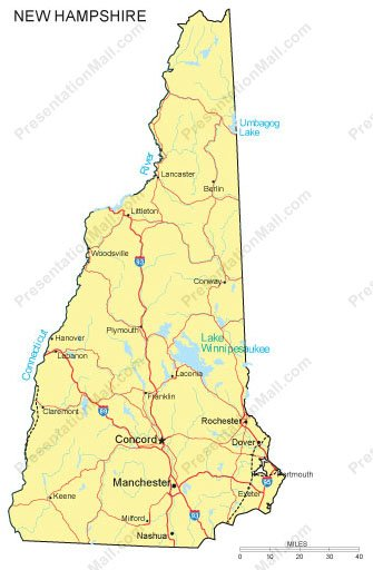 New Hampshire PowerPoint Map - Counties, Major Cities and Major Highways