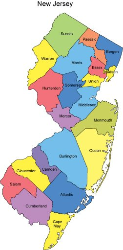 New Jersey PowerPoint Map Counties