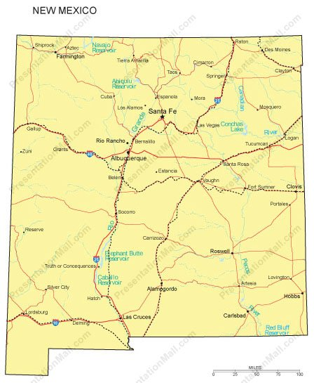 New Mexico PowerPoint Map - Counties, Major Cities and Major Highways