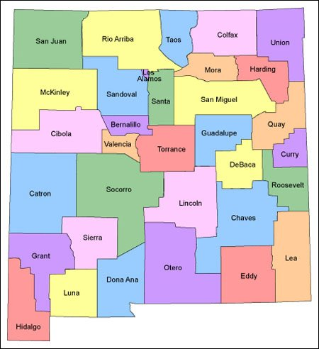 New Mexico Map For Websites Clickable HTML Image Map - New mexico state map
