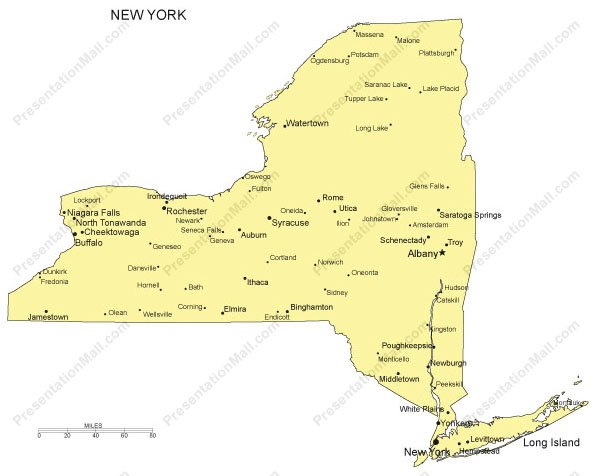 New york powerpoint map major cities for Towns in new york