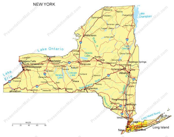 New York Powerpoint Map Major Cities Roads Railroads Waterways